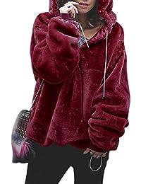 d28c792645e1c SODIAL Suéter Mulllido de Moda de Mujer Pulóver Cálido Chaqueta Sudadera  Con Capucha Con Cremallera de Manga Larga de Color Sólido…