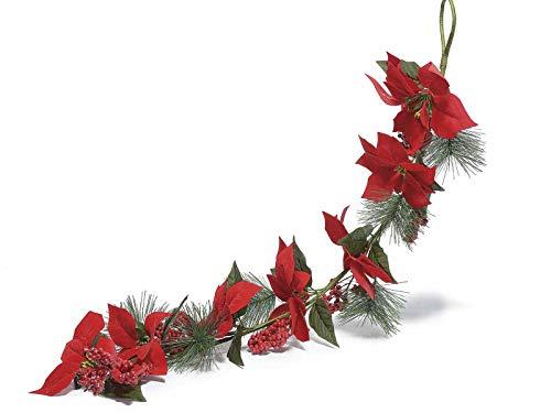 Gruppo maruccia festoni natalizi con stelle di natale e bacche decorazione per casa e negozi