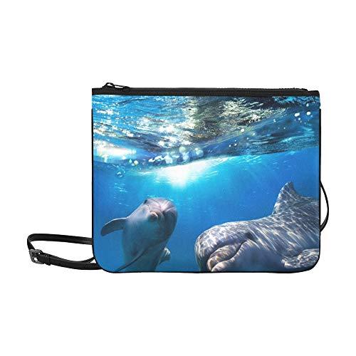 WYYWCY Zwei Dolphins Underwater Breaking Splashing Wave Benutzerdefinierte hochwertige Nylon Slim Clutch Crossbody Tasche Umhängetasche
