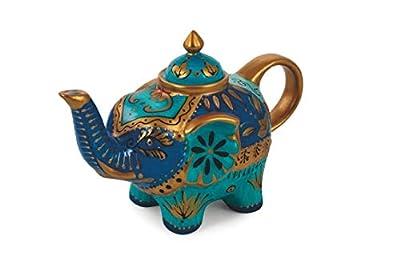 Villa d'Este Home Tivoli 2190987Patchwork Théière éléphant, Turquoise, Porcelaine, Bleu