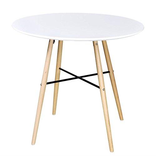 vidaXL Table de Salle à Manger Ronde Blanc Mat Table de Cuisine en MDF et Bois