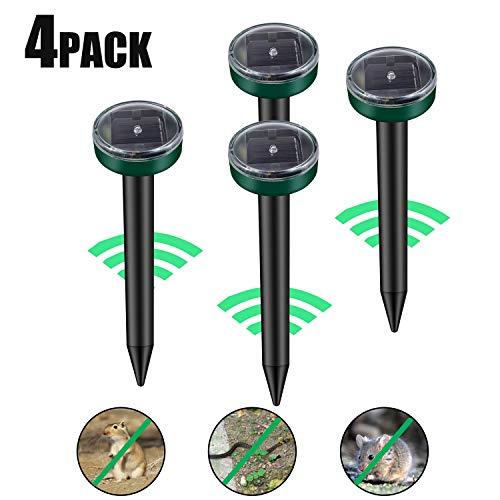 Viccioo 4 Stück Solar Maulwurfabwehr, Ultrasonic LED Maulwurfschreck, Wühlmausvertreiber, Wühlmausschreck, Mole Repellent, Maulwurfbekämpfung mit IP56...