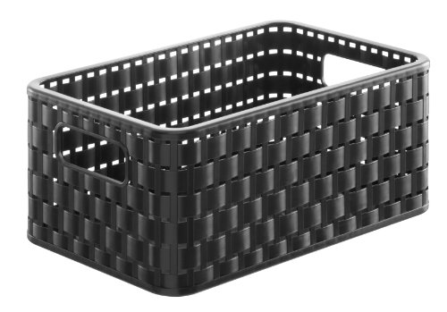 Rotho Country - Caja almacenaje efecto mimbre, Negro
