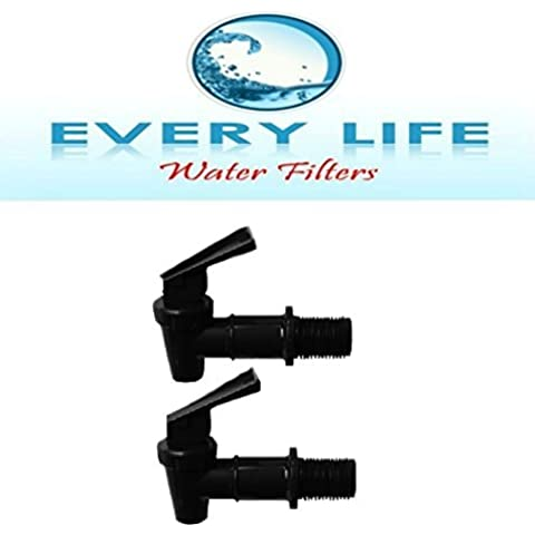 Black Plastic Faucet, Spigot, Twin-pack, Beverage Dispenser, Water Crock, Water Filter Bucket with Washer and Nut by Every Life Water Filters - Water Crock