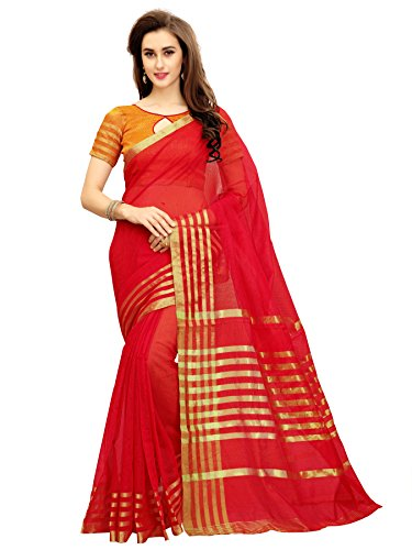 Glory Sarees Silk Saree with Blouse Piece (jari123red_Free Size)