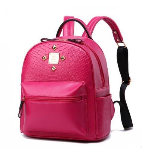 LDMB Damen-handtaschen Koreanische lässig PU Leder geprägte Vertikalschnitt Frauen Volltonfarbe Nieten Rucksack Tasche rose red