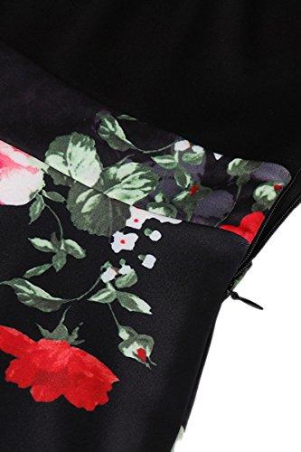 YMING Femme Robe Vintage Années 50 Robe de Soirée Cocktail Swing Manches Longue Robe Midi Fleur Rouge