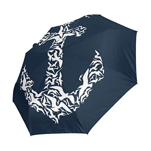 XiangHeFu Regenschirm, Weiß mit Anker und Blau, automatischer Schließung, 3 Falten, leicht, UV-Schutz