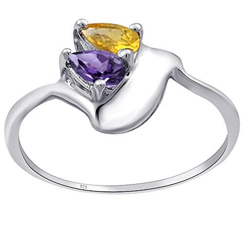 Anillo de amatista y citrino de Orchid Jewelry, anillo de plata de ley para mujer, anillo de aniversario para ella, tamaño de anillo O 1/2