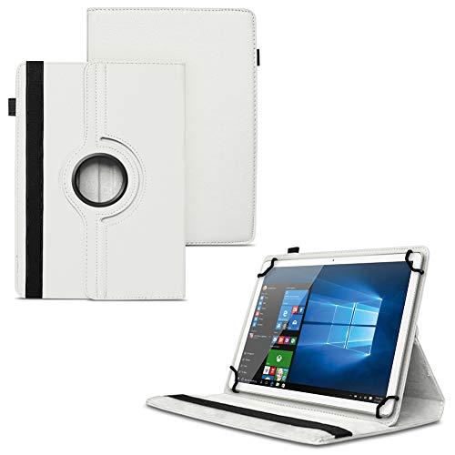UC-Express NAUCI Odys Cosmo Win X9 Odys Winpad X9 Tablet Universal Schutzhülle aus Kunstleder Hülle Tasche Standfunktion 360° Drehbar Cover Case, Farben:Weiß