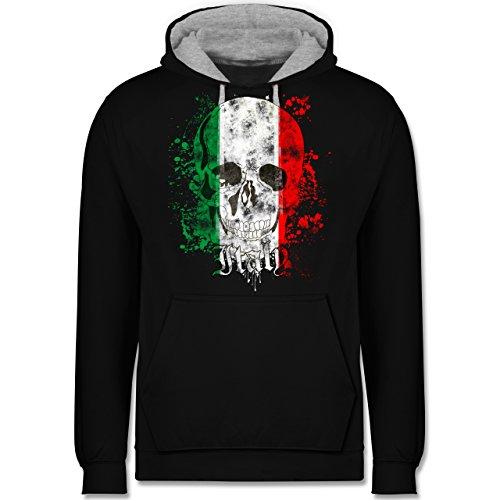 Länder - Italy Schädel Vintage - Kontrast Hoodie Schwarz/Grau Meliert