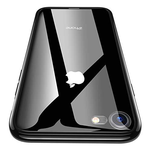 RANVOO Kompatibel mit iPhone 8 Hülle, iPhone 7 Hülle, Transparent Dünn Handyhülle Slim Hard Case Schale Hochwertig Rutschfest Hart 9H Glas Rück + Weich TPU Schwarz Rahmen Bumper Case, Schwarz