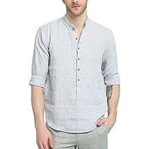 reputable site 90e62 247d7 camicia lino uomo coreana - Grigio - Amazon.it