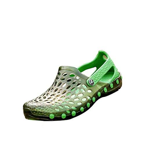 gracosy Chaussures de Plage Hommes Femmes, Sabots Été Sports à Talons Plats en Plastique Clogs Chaussons Pluie Extérieurs Travail pour Piscine, Aéré avec Semelle Antiderapante, Noir Bleu Vert