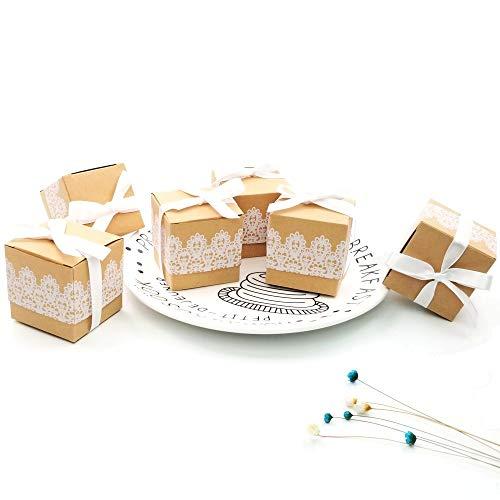 Geschenkbox aus Kraftpapier + Spitze