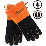 Grilling Gloves, Welding Gloves Heat Resistant Gloves BBQ Kitchen Silicone Oven Mitts, Long Waterproof Non-Slip Potholder for Barbecue, Cooking, Baking, Welding