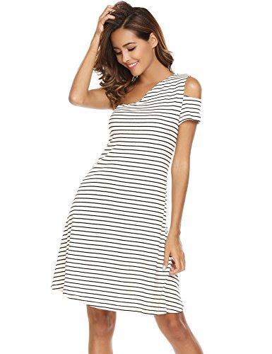 Meaneor Damen Strickkleid Gestreiftes Sommerkleid Jersey One Shoulder Figurbetontes Freizeitkleid