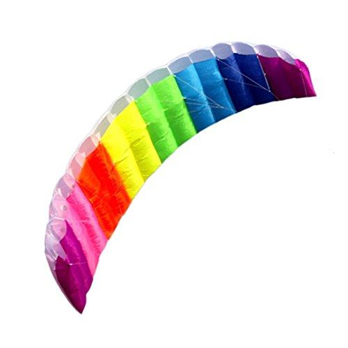 IGEMY 2018 NEUE 1.4m Rainbow Dual Line Fliegen Kite Stunt, Surfen Spiele Kinder Outdoor-Spielzeug (Regenbogen)