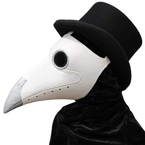 Nase Vogel Kostüm Schnabel - PartyCostume - Weiße Pest Arzt Maske - Lange Nase Vogel Schnabel Steampunk Halloween Kostüm Requisiten Maske