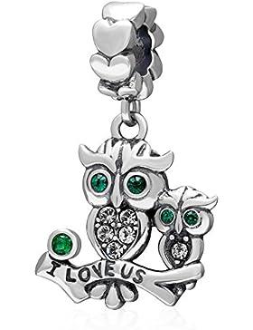 Anhänger Eule 925 Sterling Silber Charm I Love uns Mutter Tochter grün Geburtsstein für Armband-shining Charm