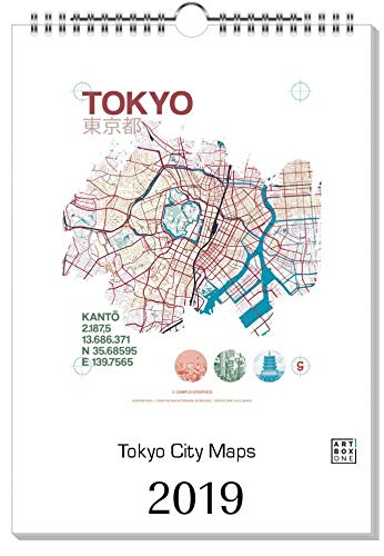 artboxONE Kalender 2019 Tokyo City Maps Wandkalender A4 Städte/Tokio
