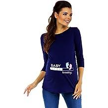 b127988cb Zeta Ville Premamá - T-Shirt Camiseta Divertido Estampada - para Mujer -  549c