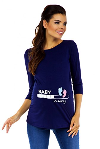 Zeta Ville Premamá - T-Shirt Camiseta Divertido Estampada - para Mujer - 549c (Armada, 42-44, XL)
