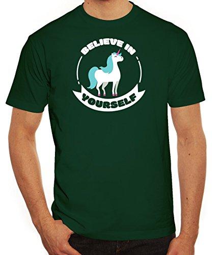 Unicorn Einhorn Herren T-Shirt mit Believe In Yourself Motiv von ShirtStreet Dunkelgrün