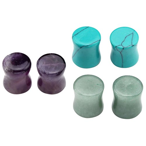 PiercingJ - Kit 3 Paires Boucle Clou d'Oreille Tragus Elargisseur Plug Ecarteur Expandeur Pierre Amethysts Aventurine Verte Turquoise 6mm - 16mm Couleur/Taille:8mm