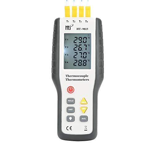 Akozon Thermoelement Thermometer, Digital HT-9815 4 Kanal K-Typ Thermoelement Sensor Thermometer, LCD Instant-Read Thermometer Temperaturmessgerät mit Sensor Sonde -328 ° F ~ 2501 ° F (- 200 ° C ~ 137 -