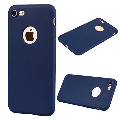 """Coque iPhone 7 (4.7""""), Solaxi Coque TPU Slim Bumper Etui pour Apple iPhone 7 (4.7 pouces) Souple Housse de Protection Flexible Soft Case Cas Couverture Anti Choc Mince Légère Doux Silicone Cover - Noi Bleu foncé"""