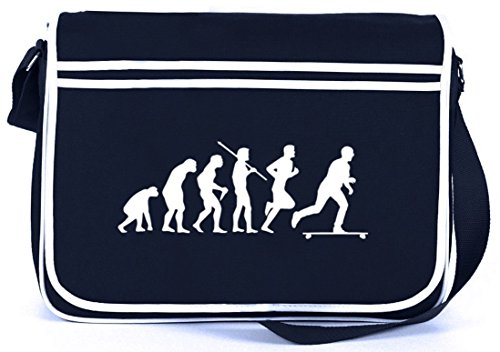 Shirtstreet24, Evolution Longboard, Skateboard Retro Messenger Bag Kuriertasche Umhängetasche Navy