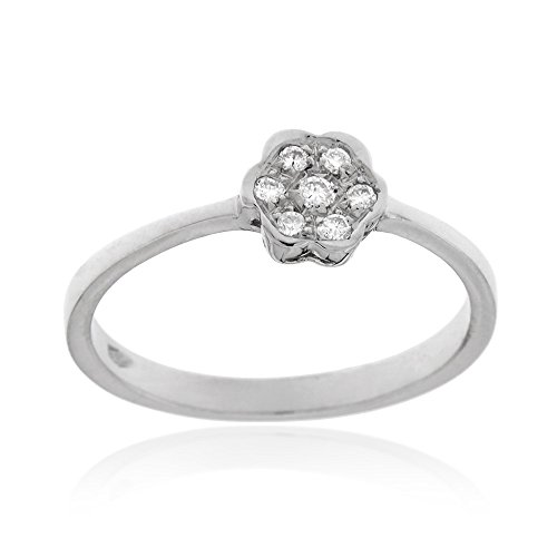 Gioiello italiano - anello in oro bianco 18kt con diamanti a taglio brillante 0.05ct