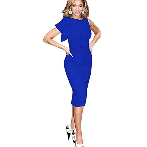 Culater® Femmes Sexy Moulante Robe Crayon sans Manches Parti Robes Bleu