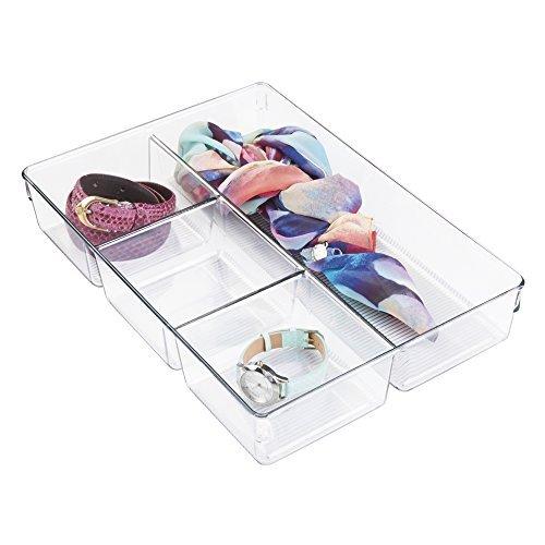 mDesign Schubladen und Schrank Organizer – Aufbewahrungsbox mit 4 Fächern – ideal für Schmuck, Kosmetik, Gürtel, Accessoires etc. – robuste Schubladenbox aus Kunststoff – durchsichtig