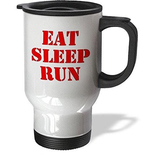 hiekon Eat Sleep Run Rouge Tasse de voyage, 14-Ounce