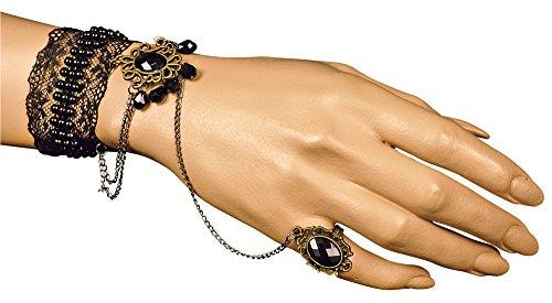 Barock Manolette Spitzen Armband mit Hand Finger Schmuck Schwarz - Wunderschöner Modeschmuck zum Barock, Rokoko, Vampir, Hexen oder Prinzessin Kostüm