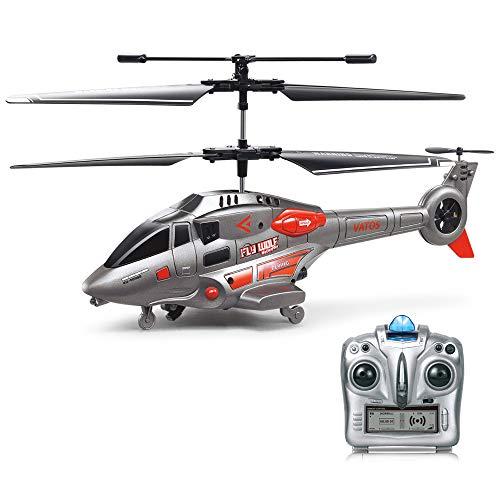 VATOS RC Hubschrauber, Fernsteuerungshubschrauber mit Kreisel und LED-Licht 3.5HZ Kanal-Legierung Mini Military Series Hubschrauber für Kinder RC Hubschrauber Spielzeug Geschenk für Jungen Mädchen