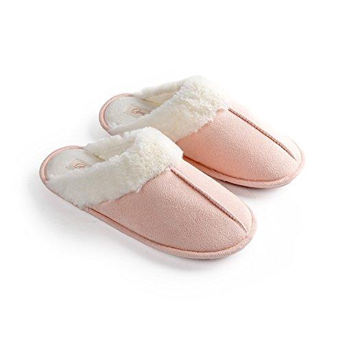 Pantofole donna home morbido antiscivolo cotone scarpe caldo peluche y1 (eu39-40-41, b)