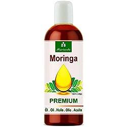 Aceite de Moringa Premium 100 ml de MoriVeda, prensado en frío a partir de semillas de alta calidad. Calidad 100% Oleifera. Cuidado de la piel, Cuidado del cabello, Cuidado de heridas, Antienvejecimiento, Aceite comestible