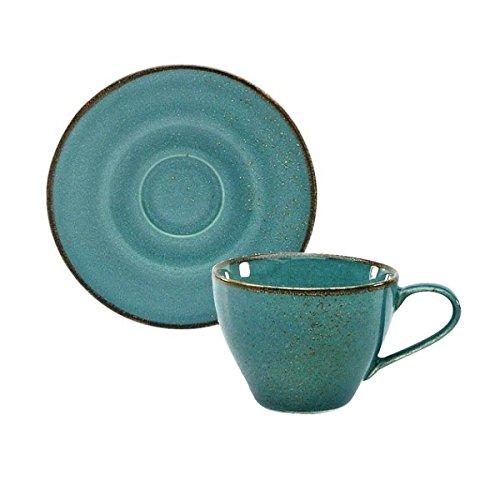 Kaffeetasse Teetasse Cappuccinotasse + Untertasse NATURE COLLECTION   Steinzeug   Water -Blau   200 ml