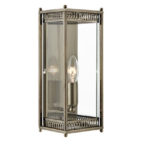 searchlight-wall-light-lantern-antique-brass-finish-with-clear-glass-panels-1551ab