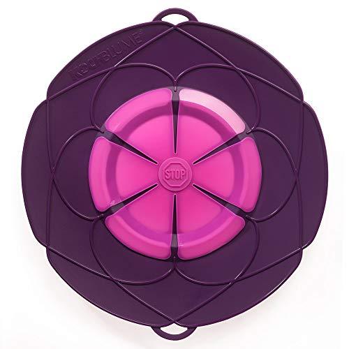 Kochblume XL 33 cm Silikon lila Überkochschutz für Töpfe und Pfannen | Überkochstopp und Spritzschutz für Topfgrößen von Ø 20 bis 28 cm | Set mit Microfasertuch!