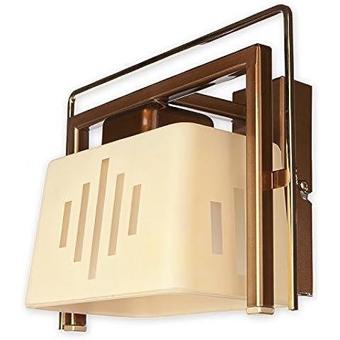 lemir Notus–Lámpara de techo (1/latón pulido + perla oro acero pantalla: Cristal