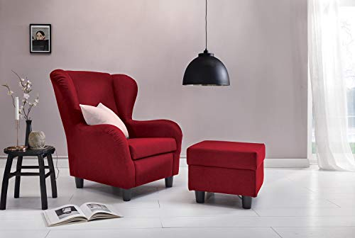 Furniture for Friends Ohrensessel Möbelfreude® Landhausstil mit Hocker Savana Cocktail-Sessel Wohnzimmer-Sessel Relax-Sessel Rot Struktur-Stoff Luxus Cocktail-Sessel (Rot)