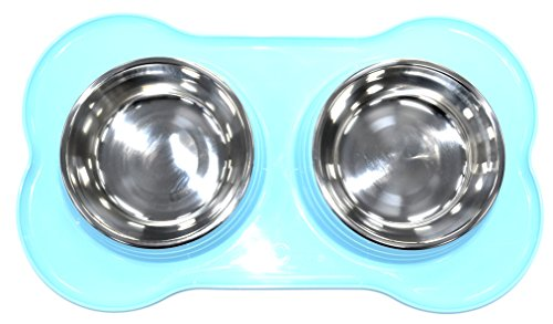 DOUBLE PET FEEDING STAINLESS STEEL BOWL WITH DOUBLE PLASTIC PET FEEDER DOG/CAT/ANY SMALL ANIMAL FOOD/WATER DISH (Blue)
