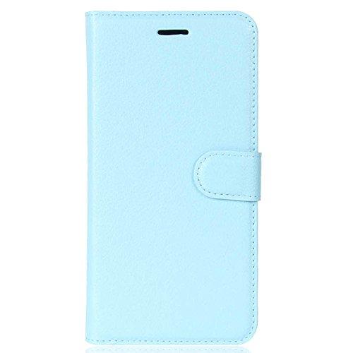 KM-WEN® Schutzhülle für Apple iPhone X (5,8 Zoll) Bookstyle Litchi Muster Magnetverschluss PU Leder Wallet Case Flip Cover Hülle Tasche Schutzhülle mit Standfunktion Kartenfächer für Apple iPhone X (5 Blau