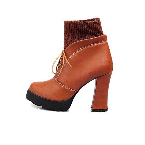 VogueZone009 Damen Schnüren Hoher Absatz Rein Niedrig-Spitze Stiefel mit Knoten, Rot, 37