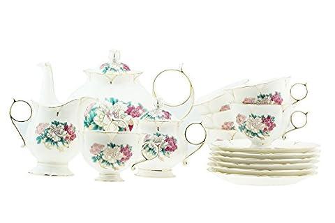 15pièces de luxe en porcelaine anglaise coloré Pivoine avec bord doré Victoria Style Ensemble de thé/café Pour 6personnes