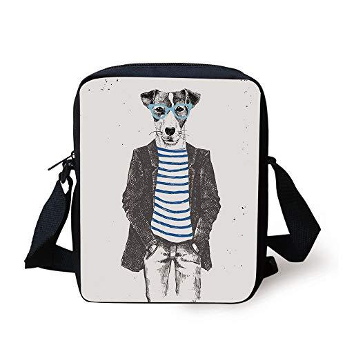 KLYDH Quirky Decor,Dressed Up Hipster Dog with Glasses Hand Drawn Sketchy Fashion Animal,Black White Blue Print Kids Crossbody Messenger Bag Purse Vintage Milk Glass